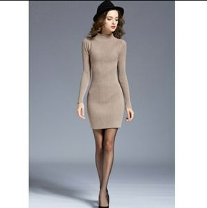 Bluewinkz Dresses - Khaki Long Sleeve Knit Dress